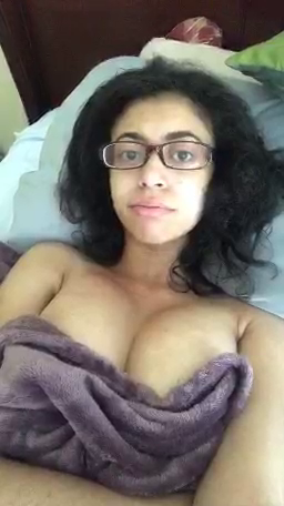 Nerdy girl showing tits on periscope